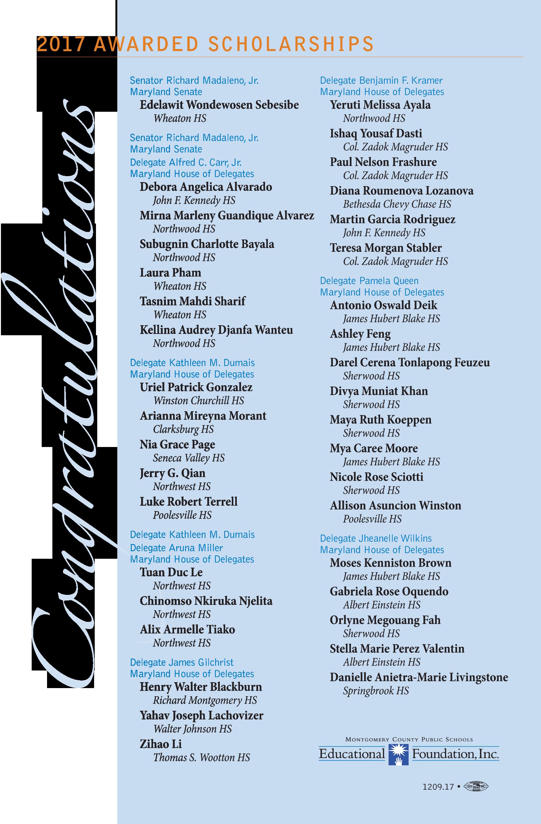 2017 List of Scholars